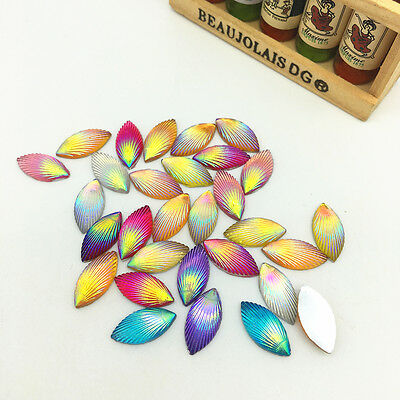 New 50pcs Resin Horse eye Flower 7*15mm Flat back For DIY Crafts Mix colour AB