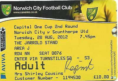 Norwich City v Scunthorpe Utd - League Cup 2012 - Football Ticket Stub