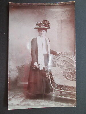 Edwardian Lady, Fashion, Fur Stole, Hat - Real Photo By Cumming & Co, Exeter