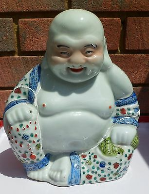 "Vintage Large 10"" Porcelain Chinese Happy Laughing Buddha Famille Rose  Repaired"