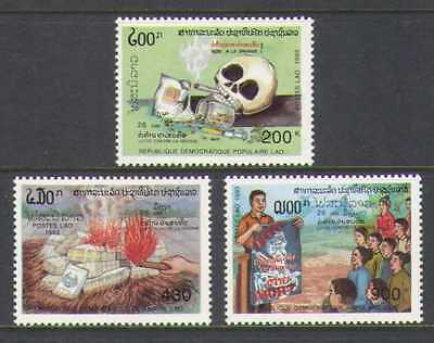 Laos 1993 Anti-Smoking/Drugs/Skull/Fire 3v set (n21044)