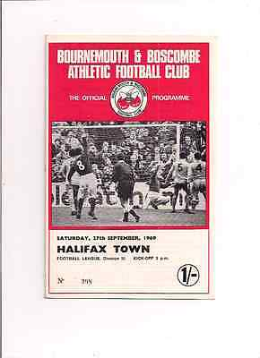 Bournemouth V Halifax Town--Division 3-1969-Programme