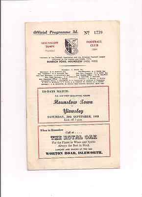 Hounslow Town V Yiewsley--Fa Cup--1958-Programme