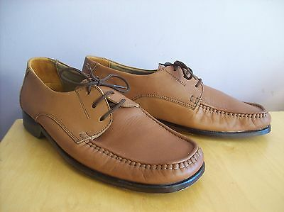 Men's Repeston Size 7 - 41 Tan All Leather Hand Stitched Laced Shoes