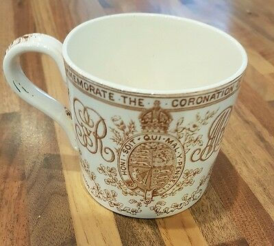 1911 Genuine Antique King George V / Queen Mary Coronation Coffee Cup / Mug