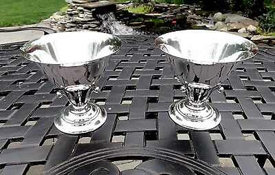 Pair Georg Jensen 17A Denmark Johan Rohde Sterling Silver Art Deco Compotes,4""