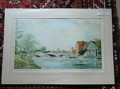 Michael Barnfather signed limited edition print THE BRIDGE AT WAREHAM