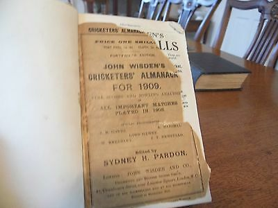Wisden Cricketers' Almanack 1909 rebound paperbacked edition FAIR only condition