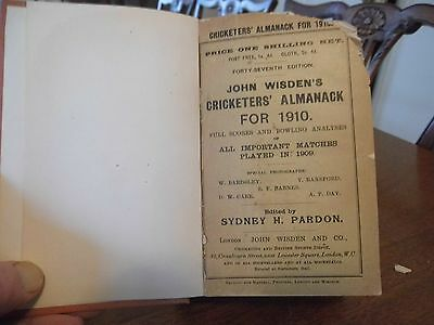 Wisden Cricketers' Almanack 1910 rebound paperbacked edition FAIR only condition