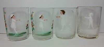 MARY GREGORY Glass Lot of 4 Tumblers Hand Painted Drinking Glasses Clear Color