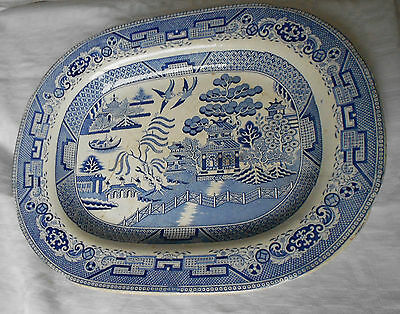Antique Blue And White Willow Pattern Meat Plate Platter - I K Knight Foley