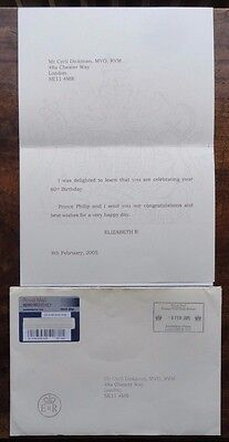 Printed Posted 80th Birthday Card from Queen Elizabeth II to Cyril Dickman 2007