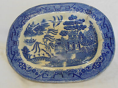 Antique Blue And White Willow Pattern Meat Plate Platter
