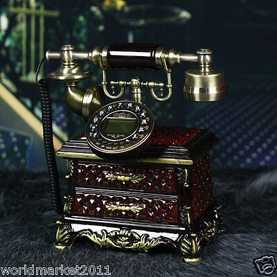 European Style High Grade Dark Red Resin Antique Ancient Dial Telephone