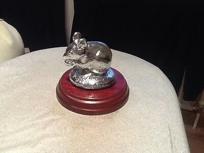 Mouse Car Mascot / Ornament Bronze Chrome Plated On Wooden Base