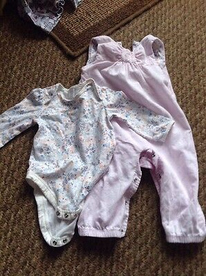 Baby Girl Boots Corduroy Dungaree And T Shirt Set, 6-9 Months