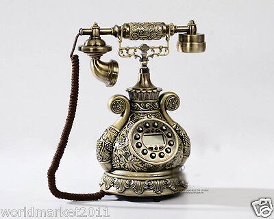 High Grade European Style Resin Antique Ancient Rotary Digital Button Telephone