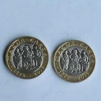 2 x 2015 MAGNA CARTA £2 Two Pound Coin   Low Mintage