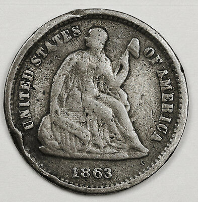 1863-s Liberty Seated Half Dime.  Fine Detail.  104628