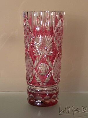 """Vintage Cranberry/Ruby Cut to Clear Faceted 9 1/2"""" Vase"""