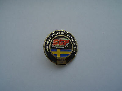 Grand  Prix  Stockholm  2016 Sweden  Speedway Badge In Gold  Butterfly Fixing