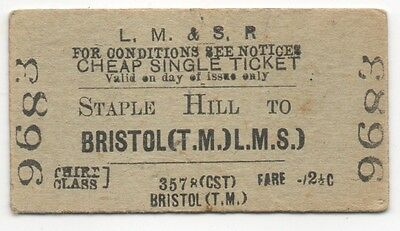 LMSR Single Ticket Staple Hill to Bristol Temple Meads used and dated 1947
