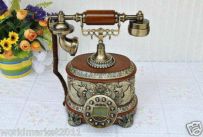 !European Style Bluescreen Red Resin+Solid Wood Antique Fashion Dial Telephone