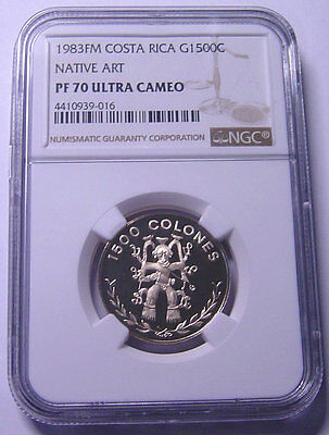 Costa Rica 1500 Colones 1983 Gold NGC PF70UC Mtg:272 only Very Rare