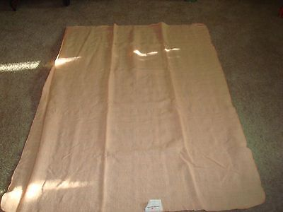 Wool Throw  100% Laine Wool  Basket Weave Design   Peach   Made in Canada