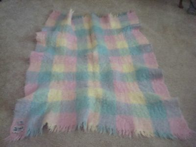 Glen Cree Wool (Mohair) Throw  Made in Scotland  Pastel Colors
