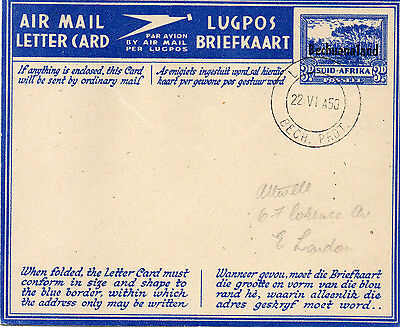 1950 South Africa Air Mail Letter Card to East London