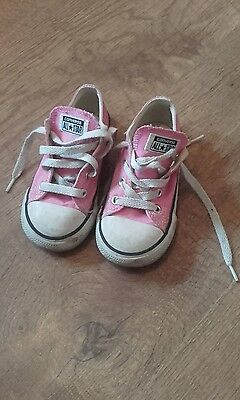 Girls size 8 pink Converse trainers