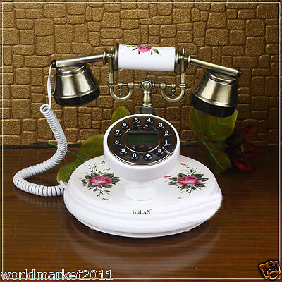 New European Style High Grade Solid Wood White Antique Ancient Dial Telephone