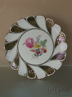 Meissen Hand Painted Pink Rose Multi-Floral With Gold Charger Plate-1850-1924