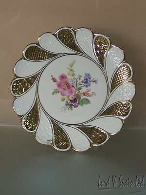 Meissen Hand Painted Multi-Colored Floral With Gold Charger Plate-Ca 1850-1924