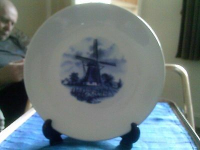 Unmarked Blue And White Windmill Plate