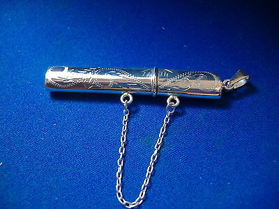 Engraved Needle Case  With Chain And Loop Solid Silver