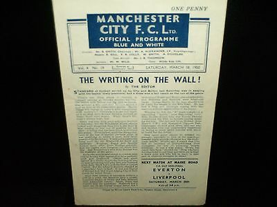1949/1950   Manchester  City  V.  Bolton  Wanderers  Reserves   Central League