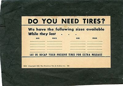 """Do you need Tires"", 1943 advertising card, Firestone Tire & Rubber Company"