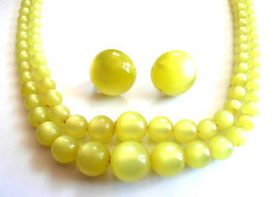 Vintage 1930s Moonglow LUCITE Necklace & Earrings SET