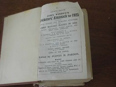 Wisden Cricketers' Almanack 1923 rebound paperbacked edition FAIR only condition