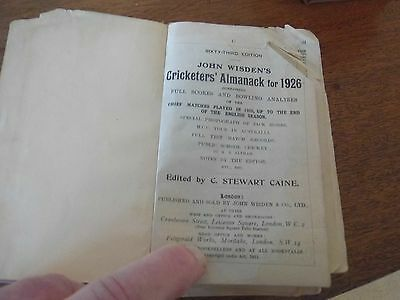 Wisden Cricketers' Almanack 1926 rebound paperbacked edition FAIR only condition