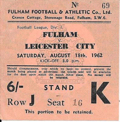 Ticket  Fulham v Leicester City 1962/63