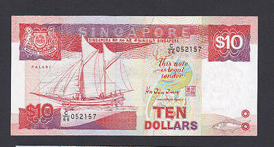SINGAPORE - 1984-89 SHIPS SERIES TYPE $10 BANKNOTE - a/UNC-  LOOK!!