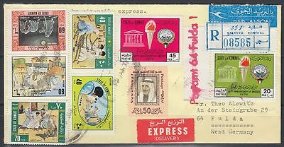 1977 Kuwait Express-R-Cover to Germany, SALMIYA label and cds [cb108]