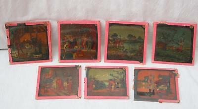 "7 Coloured Magic Lantern Slides ""Puss In Boots"" Very Colourful Part Set Only AF"