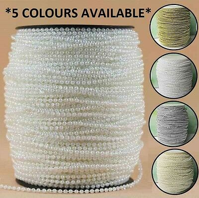 3mm Pearl String 5 Metre Trimming Beads - Ivory, Iridescent, White, Gold, Silver