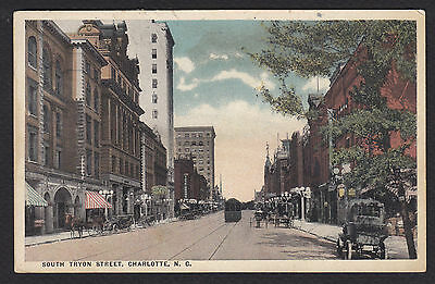 Charlotte-North Carolina-South Tryon Street-Antique Postcard