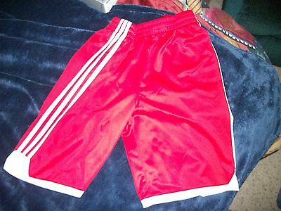 Boys ADIDAS Athletic Basketball Soccer Shorts RED & WHITE Size Large L 14-16