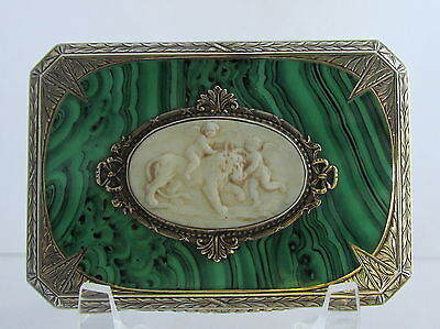 Old Italy Sterling Silver Enamel Malachite Celluloid Medallion Cherubs Compact